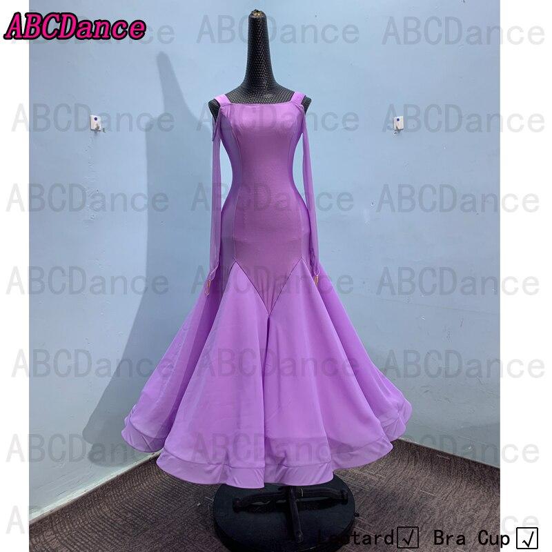 With leotard bracupballroomdancedresses women waltz dress standard  costumes dancing clothesLycraNo decorationLight purple