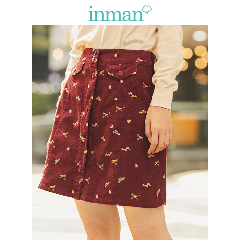 INMAN Spring Autumn 100%Cotton Corduroy Cute Print A-line Minimalism All Matched Young Girl Women Short Skirt