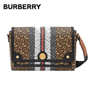 BURBERRY, Monograma, a rayas, lona electrónica, bolsos cruzados, de lujo, tejido Jacquard, letras, correa ajustable, bandoleras de piel 80264321