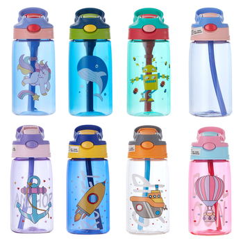 480ML Kids Water Cup Creative Cartoon Baby Feeding Cups With Straws Leakproof Bottles Outdoor Portable Children's - discount item  30% OFF Feeding