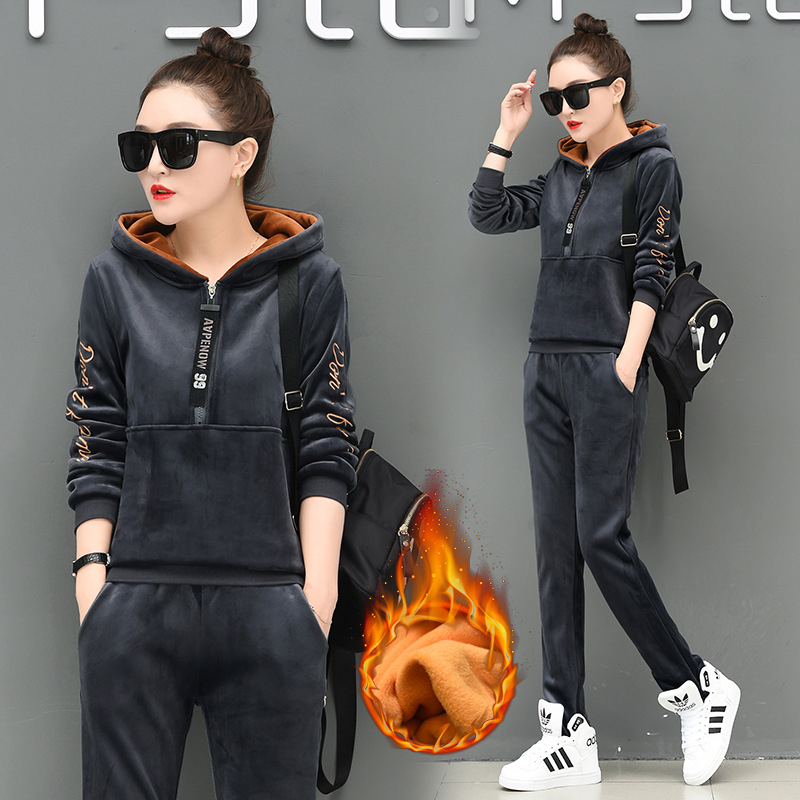 Two Piece Set Velour Tracksuit Women Conjuntos De Mujer Fleece Sweatshirt + Pants Winter Set Women Outfits Warm Velvet Tracksuit