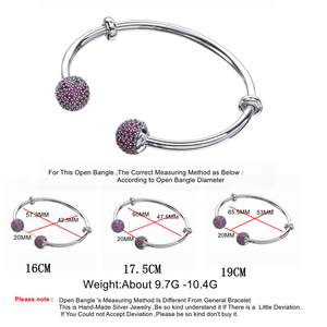 Image 2 - Moonmory Moments Silver Open Bangle with Pave Caps S925 Sterling Silver bead Bracelet with Red Zircon Diy Charm Bangle Jewelry