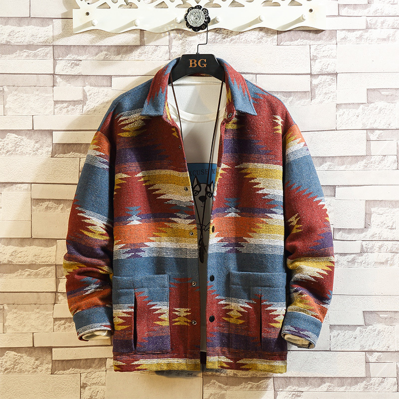 Autumn Woolen Jacket Men Fashion Retro Printing Casual Woolen Coat Men Streetwear Loose Overcoat Male Clothes Large Size M-5XL