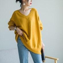 Осенний английский свободный свитер с v-образным вырезом, длинный вязаный женский свитер 79170-04