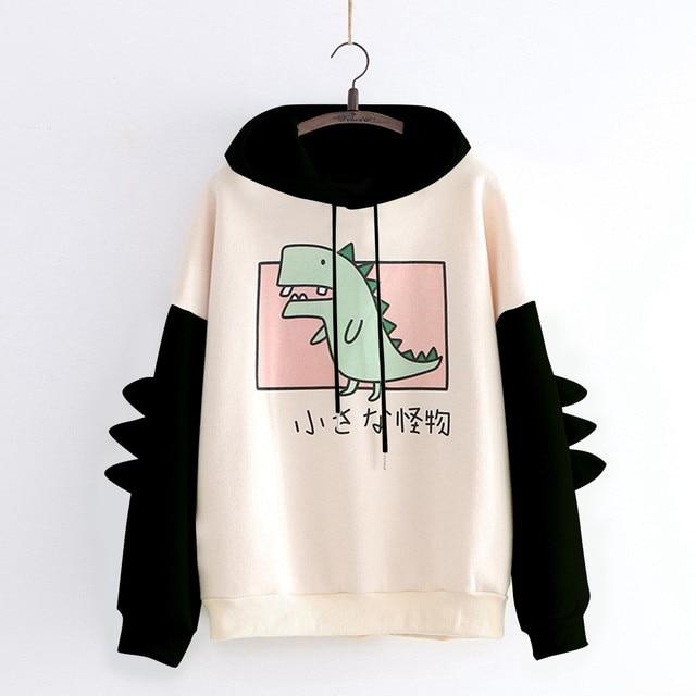 40#Hoodies Women Casual Cute Cartoon Dinosaur Print Long Sleeve Splice Dinosaur Sweatshirt Autumn Winter Warm Pullover Tops 4