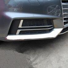 Estilo do carro tiras de aço inoxidável 3 pçs para audi a4 b9 amortecedor dianteiro capa decoração guarnição exterior adesivos acessórios automóveis