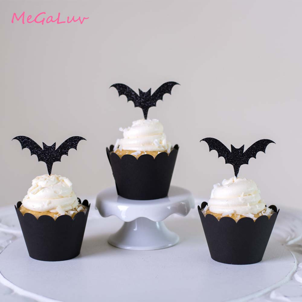 24pcs Halloween Party <font><b>Bat</b></font> Bloody <font><b>Knife</b></font> Cupcake Wrappers Topper 2019 Halloween Parti Decorations Supplies image