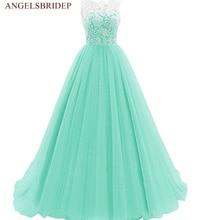 ANGELSBRIDEP Tulle Evening Dress Long Lace Corset Vestido Longo Fashion Scoop-Neck Abendkleid Formal Wedding Party Gown Hot