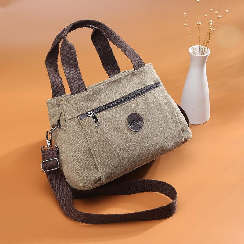Retro Casual WOMEN'S Bag Canvas Women's Hand Crossbody Bag Women's Large Capacity Multi-Compartment Canvas Bag FB-078