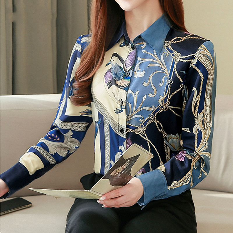 High Quality Clothes Vintage Long Sleeve Silk Blouse Women Spring Fashion 2021 Office Lady Shirt  Loose Plus Size Tops 8425 50 2