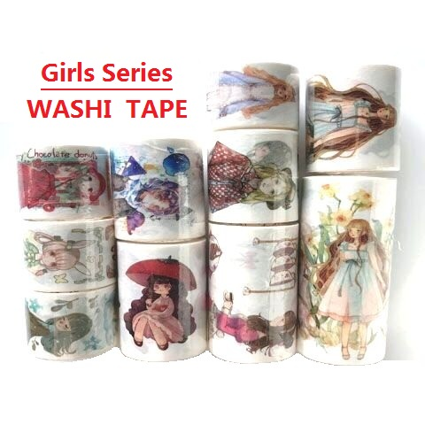 26 Designs Washi Tape Cartoon Scenery Girls  Planner  Japanese Adhesive DIY Masking Paper Label Stickers Diary Scrapbooking Gift
