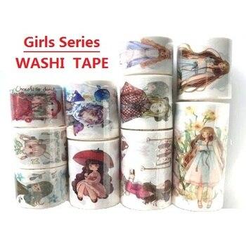 26 wzory taśmy Washi Cartoon dekoracje dziewczyny Planner japoński klej DIY papier maskujący naklejki na etykiety pamiętnik Scrapbooking prezent