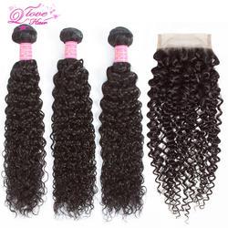 Queen Love пучки волнистых волос с закрытием не Реми человеческие волосы пучки с бразильские волосы с закрытием переплетения пучки швейцарская