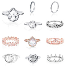 Authentic 925 Sterling Silver Princess Tiara CrownSparkling Love Heart ,CZ Rings for Women Engagement Jewelry Anniversary missita 100% 925 sterling silver rings for women love series heart wedding brand fashion jewelry anniversary gift hot sell
