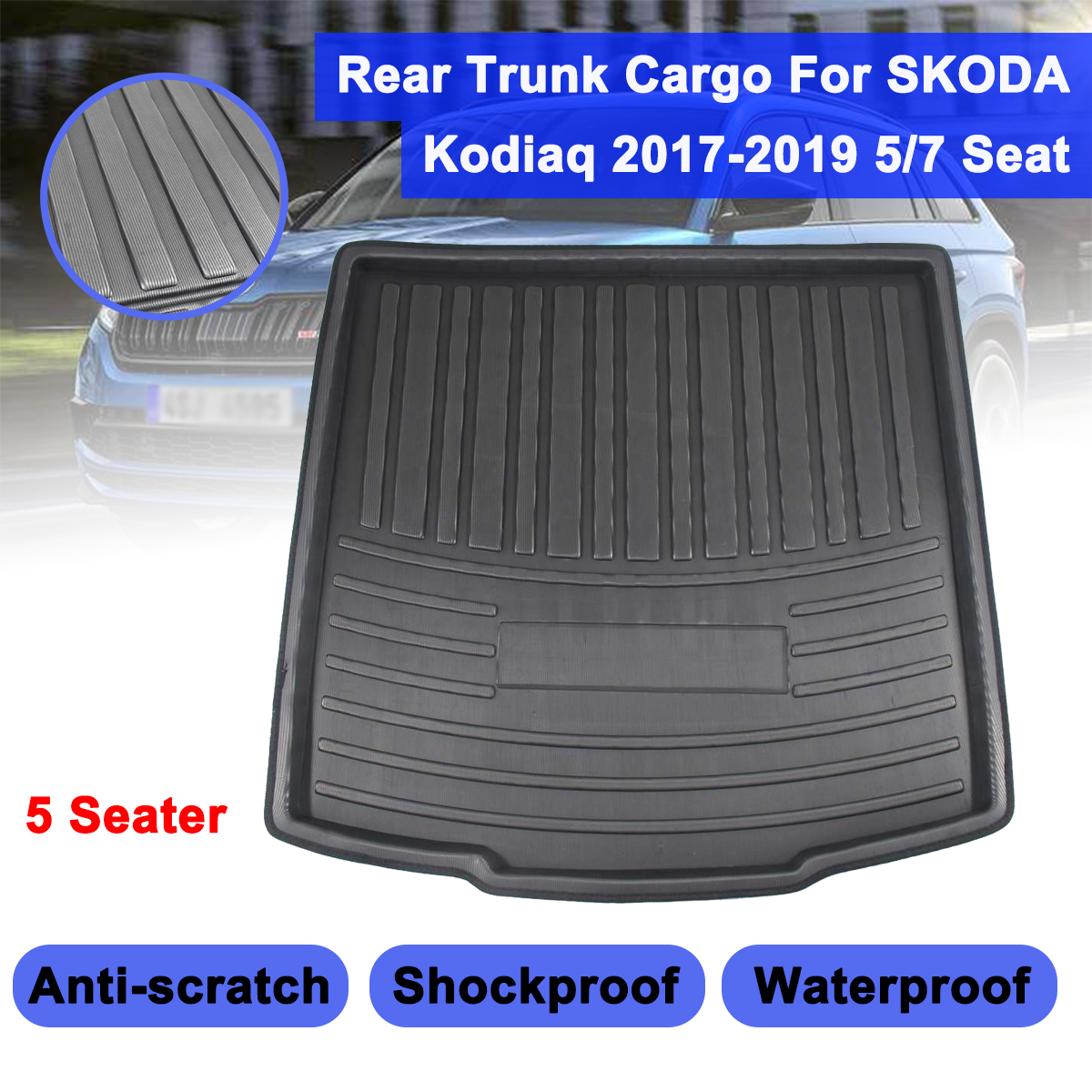 Matt Mat For SKODA Kodiaq 5/7 Seat Seater 2017 2018 2019 Floor Carpet Kick Pad Car Cargo Liner Boot Tray Rear Trunk Cover|Floor Mats| |  - title=