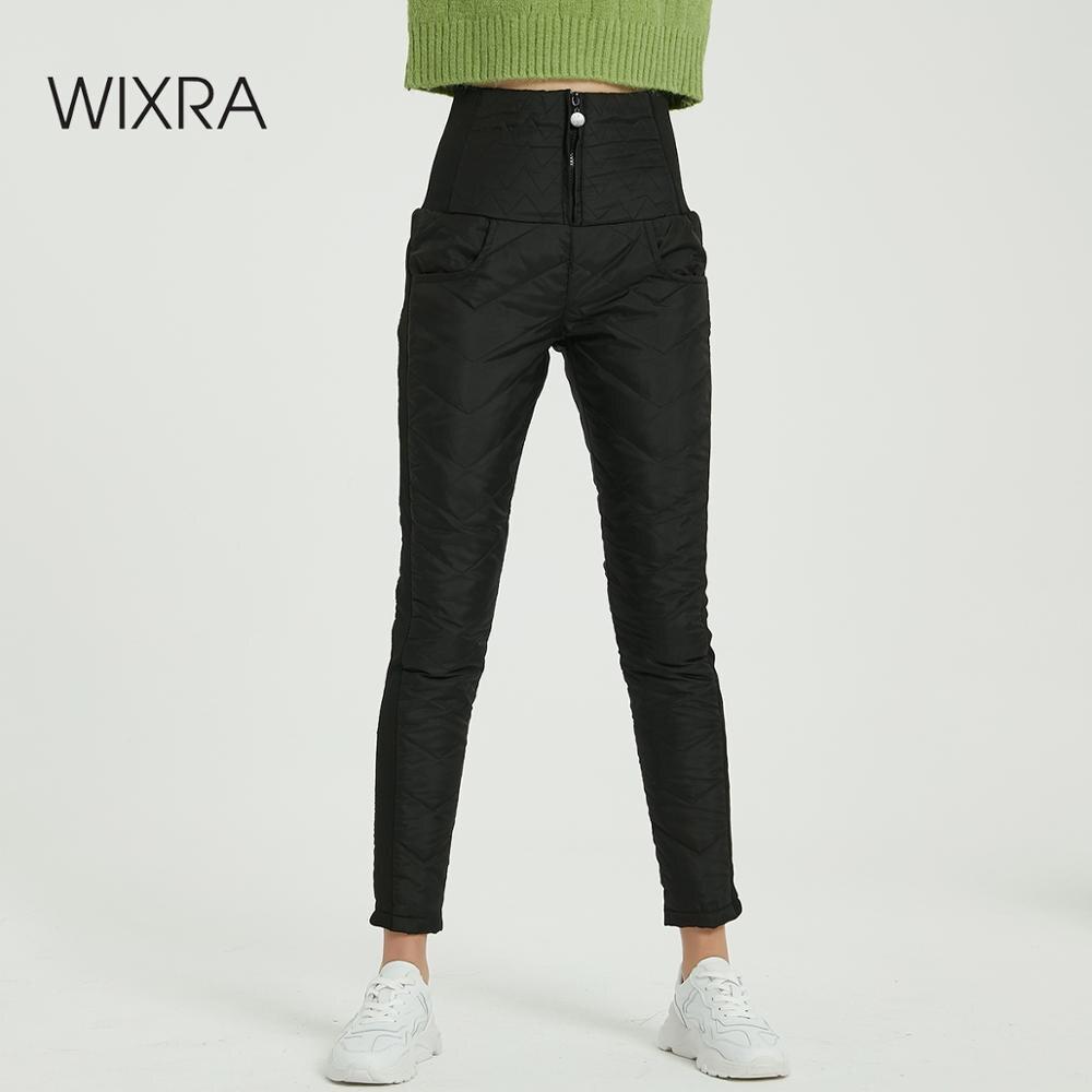 Wixra Women's Winter Pants High Waist Long Trousers Down Pants Lady Outdoor Female Warm Thick Pencil Pants Plus Size 4XL