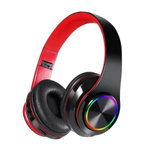 B39 Colorful LED Headphone Portable Folding Built-in FM Earphones Wireless Bluetooth V5.0 Headset With MIC Support TF Headset support sdcard fm bluetooth three in one headset universal wireless portable folding headset for mobile phone