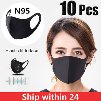 10 Pcs Black Face Mouth Mask Anti-Infection Virus Mouthmask New Unisex Anti-dust Mouth Facemask Washable Breath Straps Wholesale
