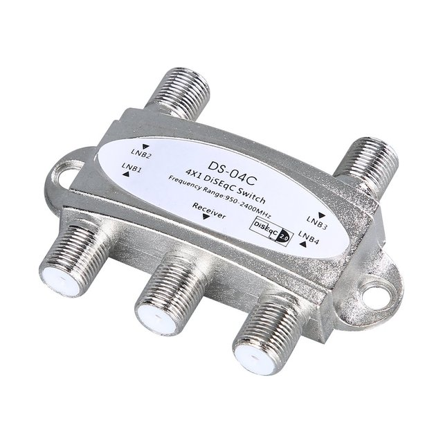 4 in 1 4 x 1 DiSEqc 4-way Wideband Switch DS-04C High Isolation Connect 4 Satellite Dishes 4 LNB For Satellite Receiver 1
