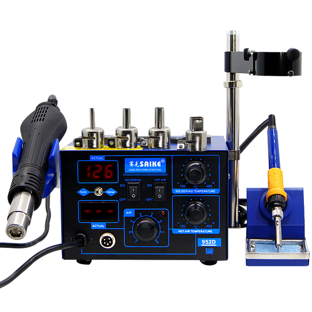2 In 1 SMD Rework Soldering Station Saike 952D Hot Air Gun Solder Iron Digital Mobile Phone Repair AC 110V / 220V