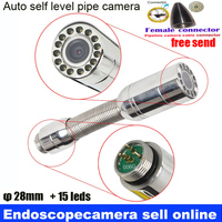 28mm IP68 self level auto balance sewer pipe inspection camera head With 15pcs LED Lights for Replacement