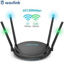 Wavlink ac1200 gigabit de banda dupla roteador wi-fi sem fio wifi repetidor 4 * 5dbi antenas de ganho alto cobertura mais ampla fácil configuração ue/eua/reino unido