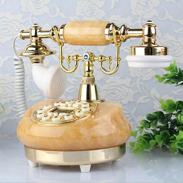 هاتف أرضي قديم من اليشم الطبيعي هاتف سلكي قديم الطراز مع مكبر صوت ، سطوع قابل للتعديل ، شاشة