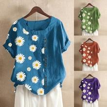 Plus Size Fashion Linen Blouse Shirt Retro Floral Print Top