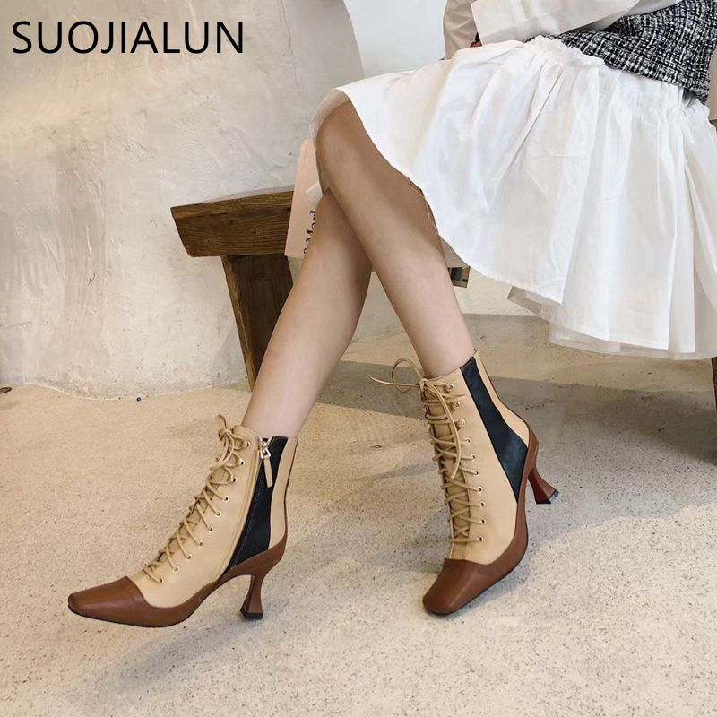SUOJIALUN New Brand Women Ankle Boots Fashion Mixed Color High Thin Heel Ladies Boot High Quality Elegant Female Pump Shoes