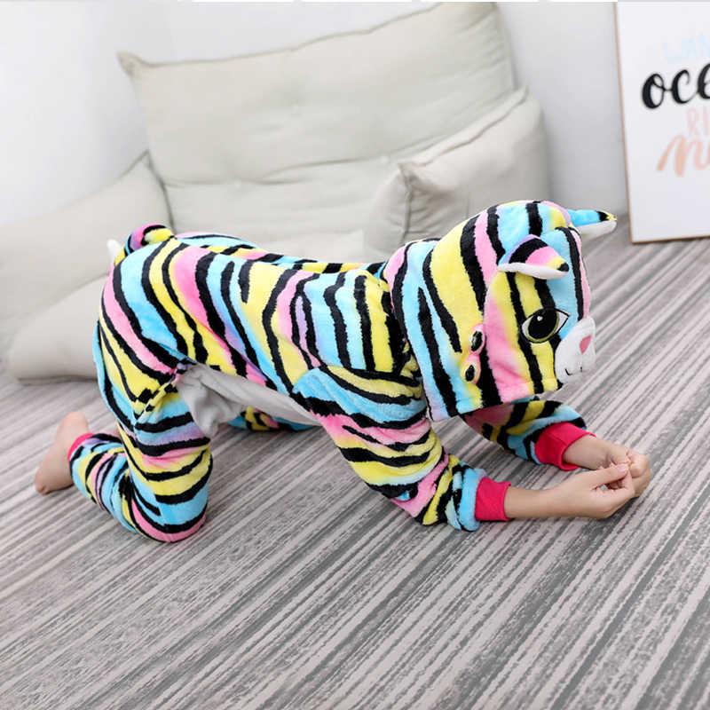 Kigurumi pijamas infantis para meninos meninas unicórnio pijamas flanela crianças ponto pijamas terno animal pijamas inverno gato onesies