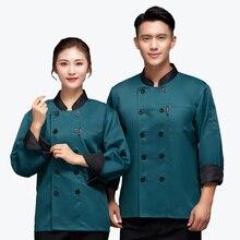 Hat Chef-Uniform Sushi Shirt Apron Stitching-Collar Bakery Hotel Long-Sleeve Cafe Kitchen