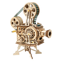 ROBOTIME 3D Wooden DIY Hand Crank Vitascope Film Projector Puzzle Game Steam Toy Educational Toy Gift For Children Kids Adults