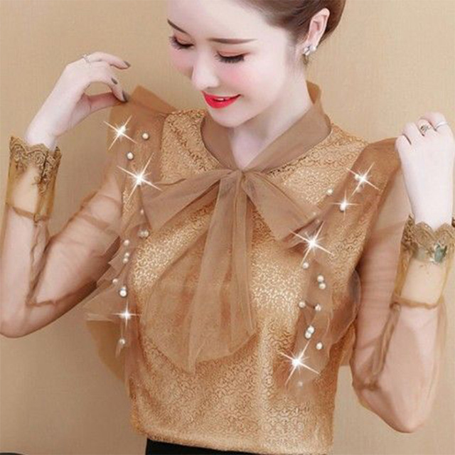 Women's Spring Summer Style Lace Blouses Shirt Women's Mesh Bow Solid Color Long Sleeve V-neck Elegant Tops SP054 6