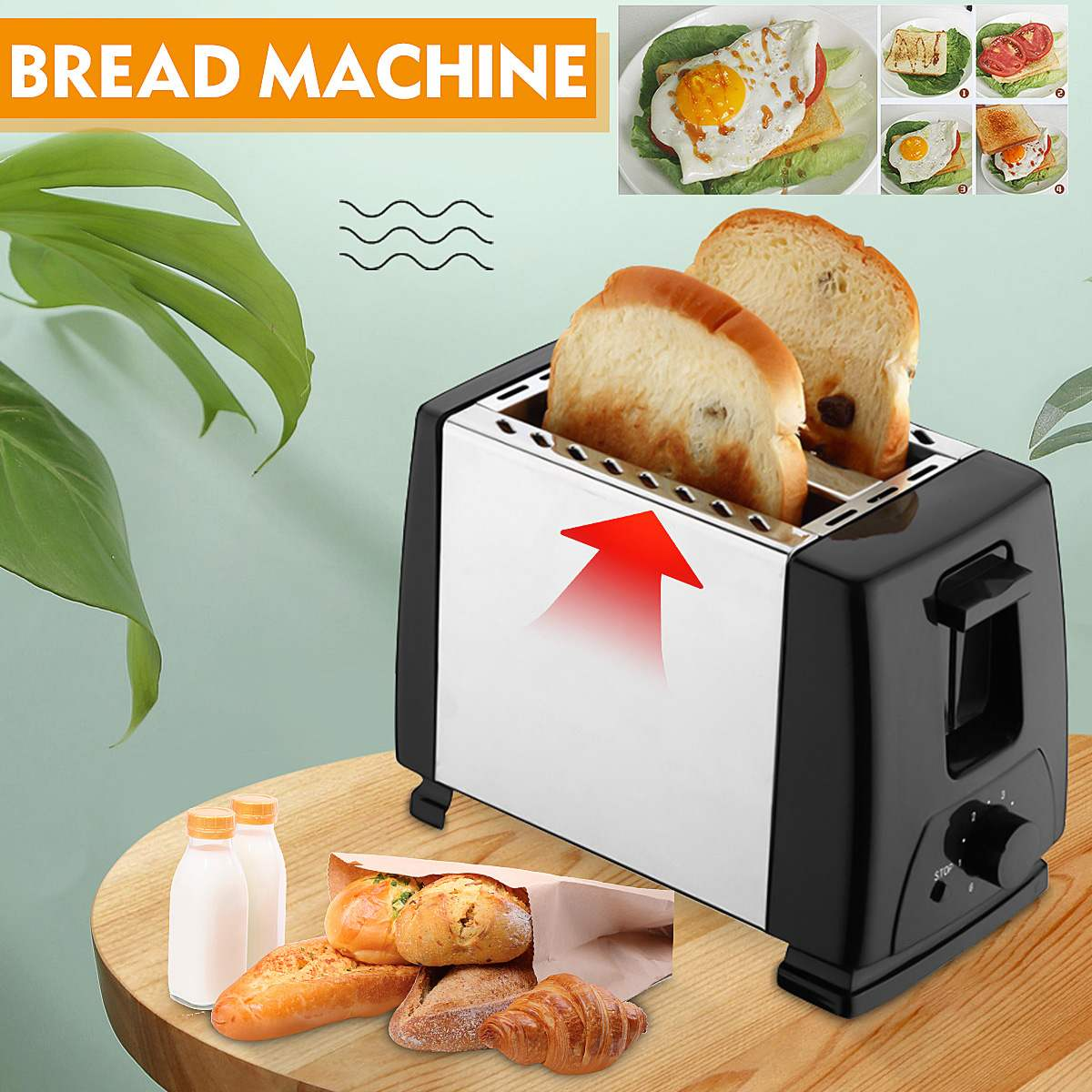750W Bread Baker Machine Electric Toaster Household Kitchen Automatic Breakfast Maker 6 Timing Gears 2pcs Bread Slot