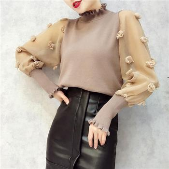 Women Knitted Mesh Patchwork Blouses Shirts Appliques Ruffled Collar Long Sleeve Woman Casual Pullovers Shirt-c 1