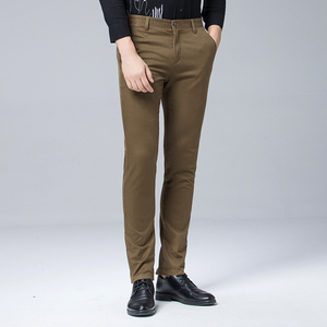 Image 1 - 高品質冬厚みの暖かいカジュアルパンツ男性スリムフィットチノカジュアルスーツのズボンの男性