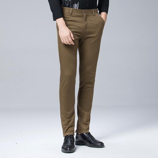高品質冬厚みの暖かいカジュアルパンツ男性スリムフィットチノカジュアルスーツのズボンの男性