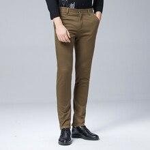 Yüksek kaliteli kış kalınlaşmak sıcak rahat pantolon erkekler Slim Fit Chino günlük giysi pantolon erkek pantolon