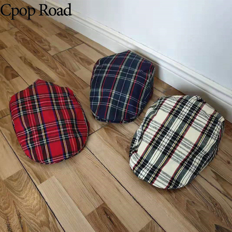 Cpop New Fashion 3 Pattern Ployester-mixed Cotton Cloth Visors High Quality Female Plaid Hats Casual Personality Women Hats 2022