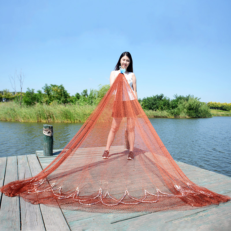 Lawaia Old-fashioned Cast Net Hand Throw Fishing Trap Net Manually Spread Fish Nets Automatic Casting Tool Landing Netting Fish