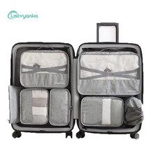 7 Pcs/Set Suitcase Organizer Travel Set Luggage Cable Clothes Shoe Bags For Storage Portable
