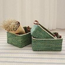 Cesta de armazenamento tecido para comida brinquedo livro álbum milho casca weavingstorage cestas desktop sundries cosméticos organizador decoração para casa