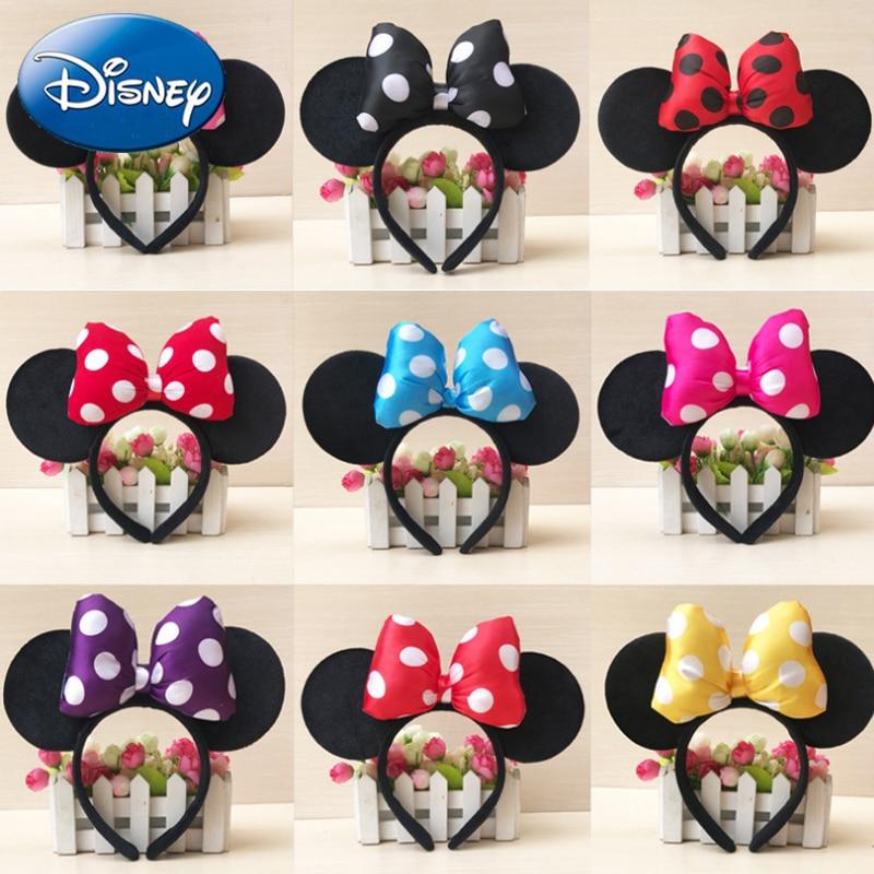 Disney haute qualité Mickey Minnie brillant bandeau noir souris oreilles bandeaux coiffe femmes cheveux nœuds accessoires fête d'anniversaire