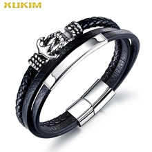 Xukim Jewelry Multilayer leather men fasion handmade black Rope Wrap Bracelet & Bangle 2020 punk  jewelry dropshipping KBO239 недорого