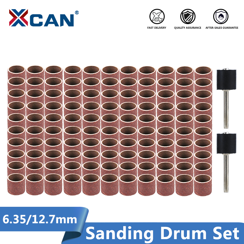XCAN Sanding Drum Set #80#100#120 Grit With 6.35mm 12.7mm Sanding Mandrel For Dremel Rotary Tools Abrasive Tools Sanding Bands