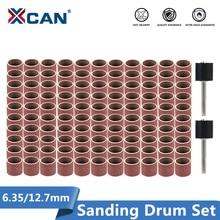 XCAN Sanding Drum Set #80#100#120 Grit with 6.35mm 12.7mm Sanding Mandrel for Dremel Rotary Tools Abrasive Tools Sanding Bands