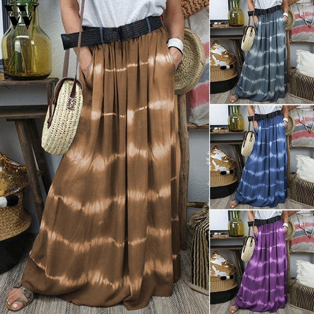 Womail Women Skirt Summer 2020 Boho Long Skirt Plus Size Casual Tie-dyed Gradation Pocket Pleated Skirt Long Skirt Club Party