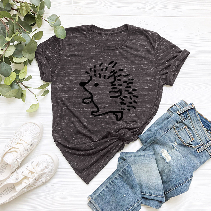 H17d06b7e7ba34a46b4ff4a079aa17ec0X - JFUNCY Summer 100% Cotton Women T-shirt Plus Size S-5XL Graphic Tees Short Sleeve Female Tops Cute Hedgehog Printed T Shirt