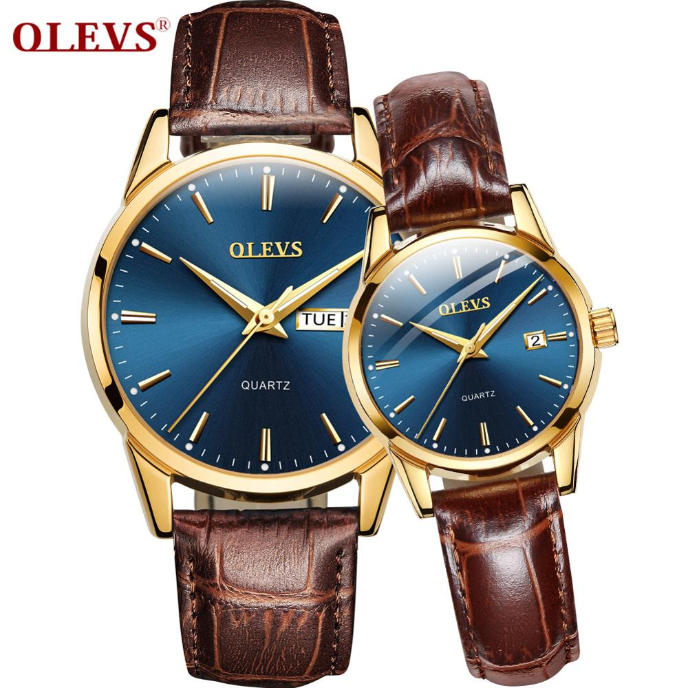 OLEVS Fashion Men's And Women's Watch Top Brand Luxury Leather Strap Couple Quartz Watch Automatic Date Rose Gold Case Dial