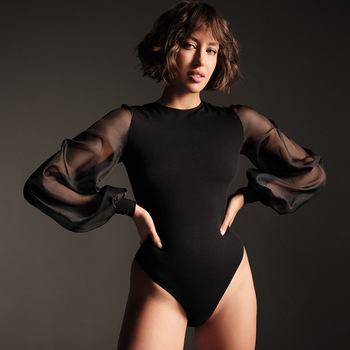 Forefair Streetwear Mesh Patchwork Long Sleeve Women Bodysuit Black White See Through O Neck Popular Sexy Bodysuit For Women 2